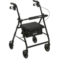 "Walker Rollator with 6"" Wheels, Fold Up Removable Back Support, and Padded Seat"
