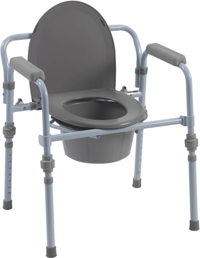 Drive Medical - Folding Bedside Commode with Bucket and Splash Guard ...
